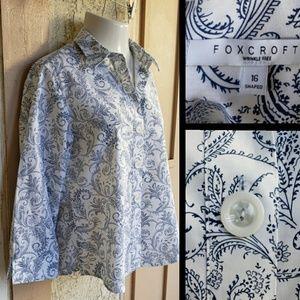 16 Women FOXCROFT Nordstrom button shirt print
